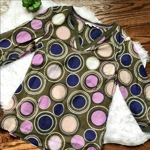Boden Green and Purple Circle Patterned Tunic sz 6